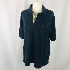Burberry Check Placket Navy L Cotton Polo Shirt
